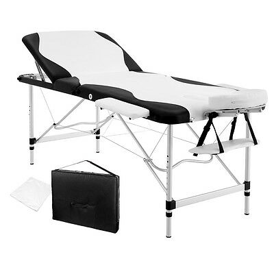 Portable Aluminium Massage Table 3 Fold Black Bed Chair Beauty Therapy Waxing