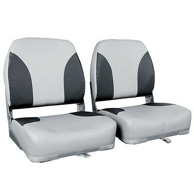 2X Premium Folding Boat Seats Marine All Weather Swivels Grey Charcoal Set