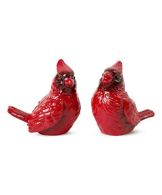 Fitz and Floyd Poinsettia Birds   Salt & Pepper Shakers  New in Box