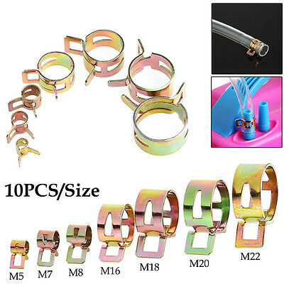 10Pcs 5-22mm New Spring Clip Fuel Line Hose Water Pipe Air Tube Clamps Fastener