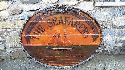 Vintage Wooden Pub Sign The Sea Farers Burtonwood Ales