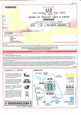 U2 Stehplatz Fosse Pelouse Standing GA Tickets - Paris 25.07.2017, 25 July 17