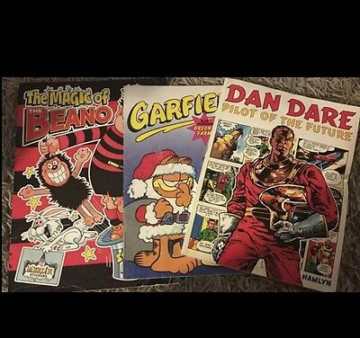 Job Lot 3 Vintage 1989 Comic Books Beano Sticker Book, Garfield & Dan Dare