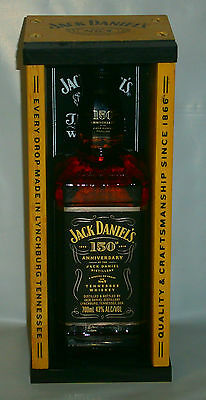 Jack Daniels 150th Anniversary glass 700ml bottle with display wood coffin box