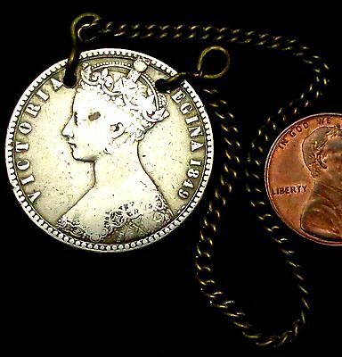 a2: 1849 Queen Victoria Silver Godless Florin - a PORT decanter medallion