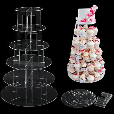 6 Tier Cup Cake Stand Wedding Birthday Party Acrylic Cupcake Display Round Clear