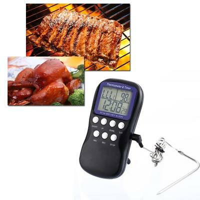 Digital Food Probe Oven Thermometer Timer Temperature Sensor Cooking Baking Meat