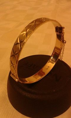 Hallmarked Vintage 22 Ct Gold Over Silver Bangle With Safety Chain 22.4 grams...