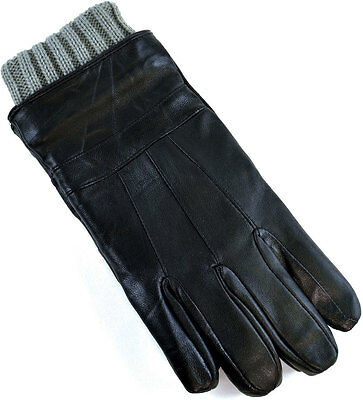 Mens Driving Winter Genuine Leather Gloves with Knitted Cuff