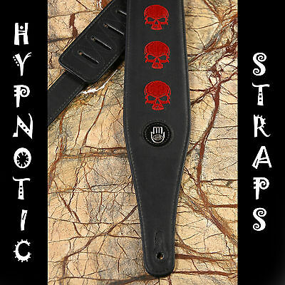 Hypnotic Straps Black Red Craniums Embroidery Guitar Bass Acoustic Strap Padded