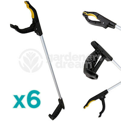 6 X GardenersDream 76cm Litter Picker Rubbish Pick Up Reaching Mobility Tool