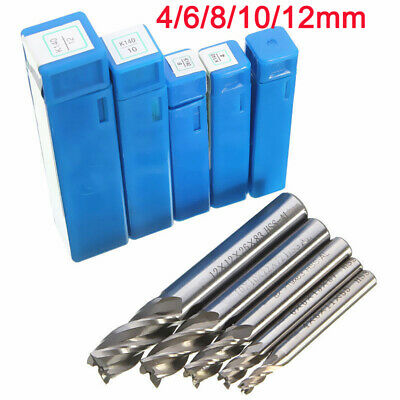 HSS CNC Straight Shank 4 Flute End Mill Cutter Slot Drill Bit Tool 4/6/8/10/12mm
