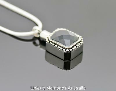 316L Stainless Steel Black Ornate Stone Cremation Keepsake Urn Pendant & Chain