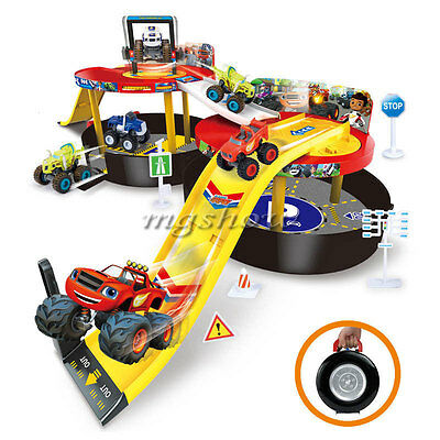 Kids Toy Blaze and the Monster Machines Vehicles Parking Lot Nickeloden Gift