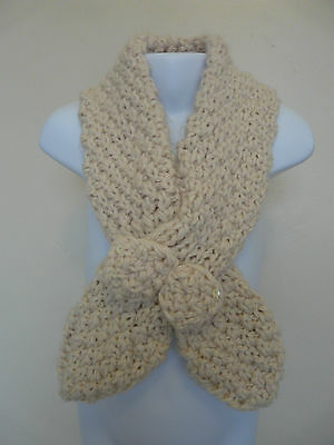 New Monsoon Girls Oatmeal Beige Knitted Sequin Bow Crossover Chunky Winter Scarf