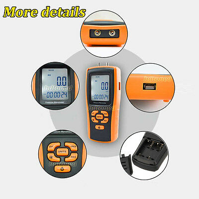 LCD Handheld Differential Air Pressure Manometer Gauge USB GM510 Digital Tester