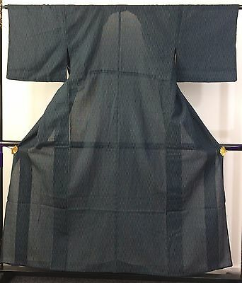 Authentic Japanese polyester see through blue kimono for women, good cond.(M855)