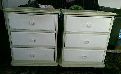 Pair of Shabby Chic Bedside Tables. Solid Wood