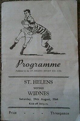 ST HELENS v WIDNES RUGBY LEAGUE PROGRAMME 1964.* FREE POSTAGE *