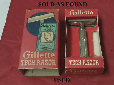 Vintage Gillette HEAVY TECH DE Safety Razor w Box