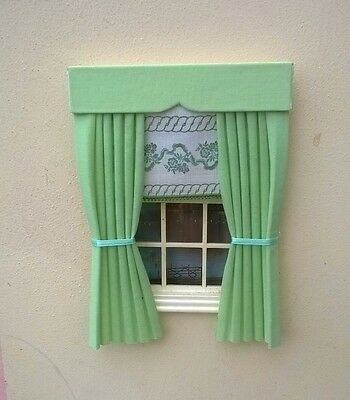 Dolls House Curtains Mint Green With Laura Ashley Fitted  Blind