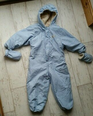 Beautiful Cosy Baby Blue Ski Suit All in one Winter Onesie 3-4 years Body Suit