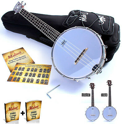 Concert / Tenor Banjolele: Closed Back Banjo Ukulele/Uke by Malani (+ Gig Bag)