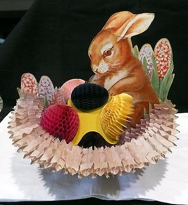 Vintage Homeycomb Easter Basket with Honeycomb Eggs