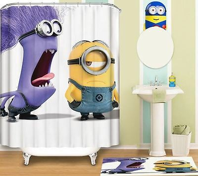 Extraordinary Style Minion Digital printing Shower Curtain With Metal Hooks