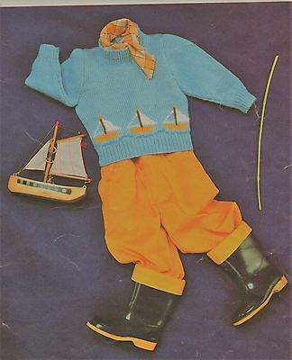 Vintage Knitting Pattern For Baby's Jumper With Boat Motifs