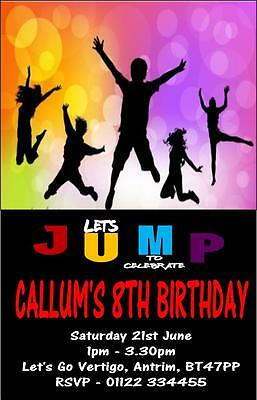 10 x Personalised Childrens Trampoline Party Birthday Invitations Invites