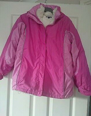 Girls Pink Fleece Lined Waterproof Jacket /Coat From Peter Storm Age 11-1
