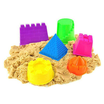 6pcs Beach Toy for Kids Building Sand Molding Small Kinetic Castle Sand Mold Set