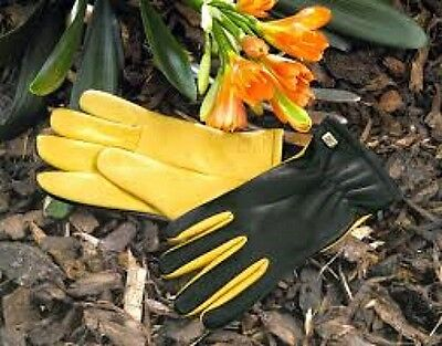 Gold Leaf 'Dry Touch' leather gardening gloves - FREE DELIVERY