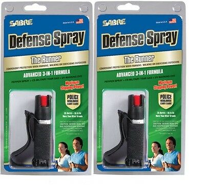 2 Pack - SABRE RED Pepper Spray - Police Strength - Runner W/Hand Strap