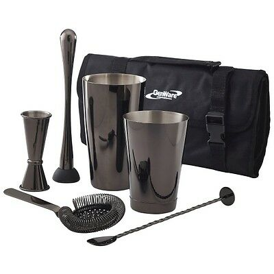 Gun Metal Cocktail Bar Kit 7pcs Mixology Cocktail Accessories Genware Starter