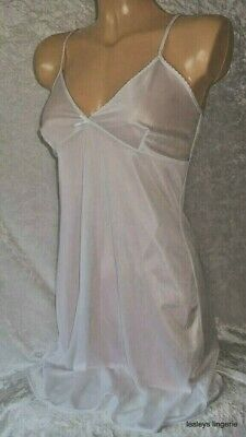 Bhs Ladies White Silky Sheer Night Wear Nightie Chemise Underskirt Slip Bnwt