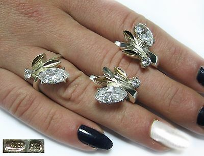 NICE MODERNIST Set Ring size 6.5 Earrings SILVER 925 and GOLD 585 Ukraine USSR