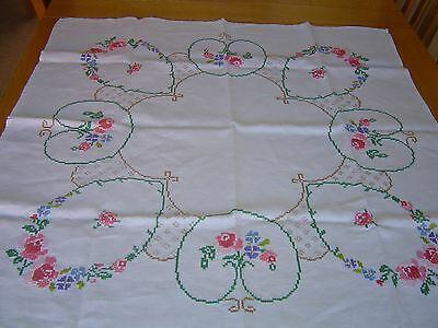 "Vintage Hand Embroidered Cross Stitch Tablecloth 32"" x 32"""