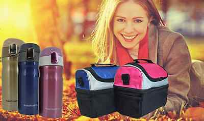 Portable Thermal Travel Lunch Bag School Insulated Picnic Carry Box With Flask