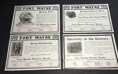 4 Diff  Brewery Equipment 1907 Beer Ad Fort Wayne Indiana & Madison Wisconsin
