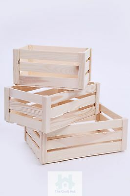 Wooden Crate Plain Wood Decoupage Crates Wood Storage Boxes 3 Sizes Sn100/1/2
