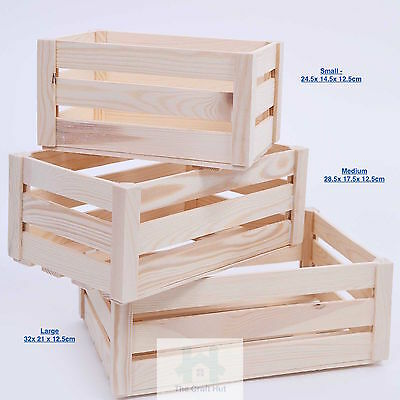 Wooden Box Storage Crate Plain Wood Decoupage Crates 3 Sizes Sn100/1/2