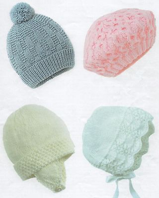 Vintage knitting Pattern for Baby's Hats