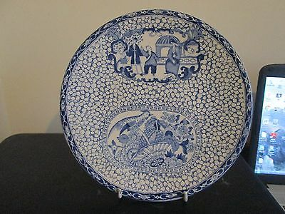 Antique William Adams Chinese Bird Blue & White Wall Plate Plaque