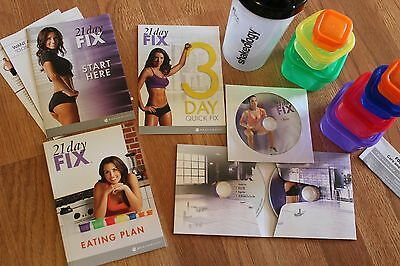 New Sealed 21 Day Fix Essential Program. 4 Dvds, 7 Containers, Shaker and Guides