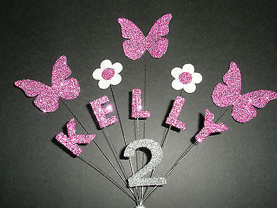 Personalised Butterfly/Flower Birthday Cake Topper/Decoration - Any Name/Age