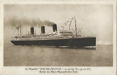 RP Card FRENCH LINE S.S. ILE-DE-FRANCE – C.G.T. French Line Card - Unposted