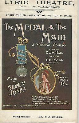"""1903 Lyric Theatre Music Programme """"the Medal & The Maid"""""""