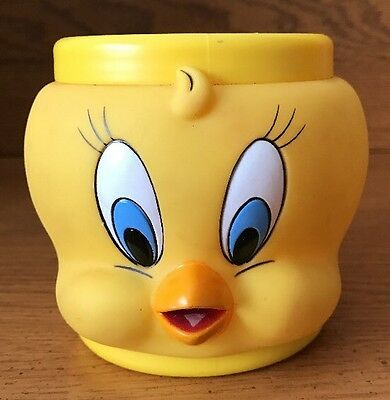 Tweety Bird plastic mug 3D face Warner Bros Looney Tunes 1992 coffee cup yellow